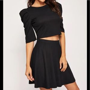 Dresses & Skirts - Black Puff Sleeve Solid Top & Skirt Set